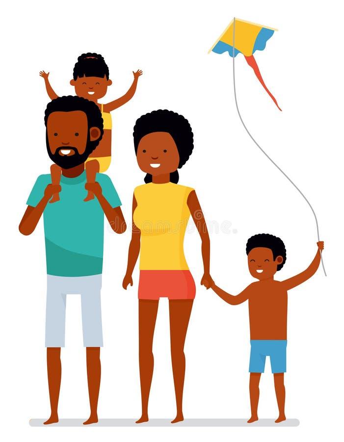 plażowy rodzinny szczęśliwy tropikalny Aktywny podróży pojęcie Kreskówki mieszkania stylu ilustracja Amerykan Afrykańskiego Pocho ilustracja wektor