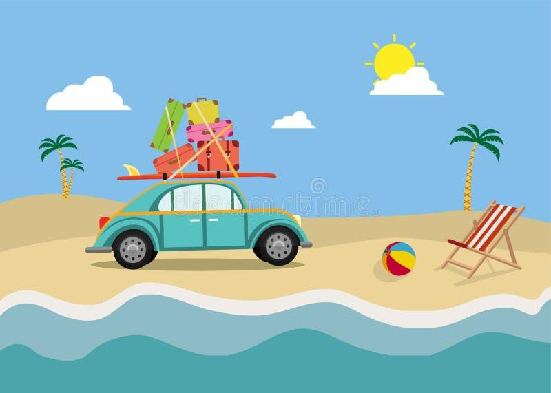 plażowy samochód Samochodowy podróżny pojęcie Wp8lywy wakacje royalty ilustracja