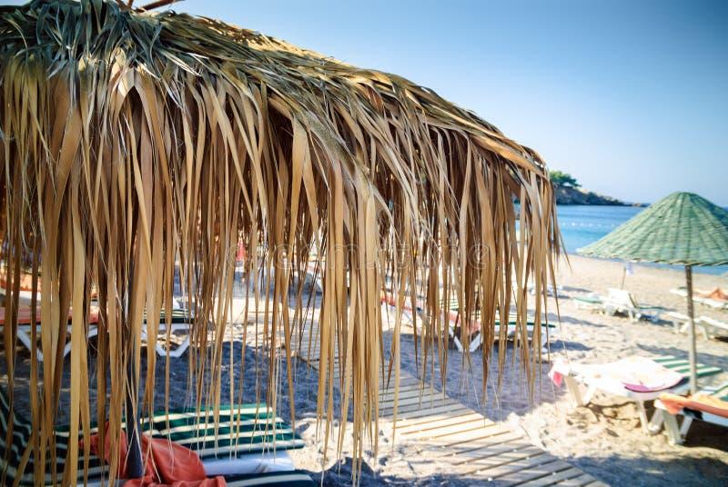 Plażowy scena parasol zdjęcia royalty free
