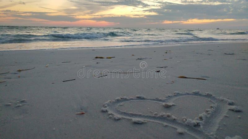 Plażowy serce zdjęcie stock