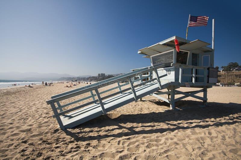 plażowy strażowego domu życie Monica Santa fotografia stock