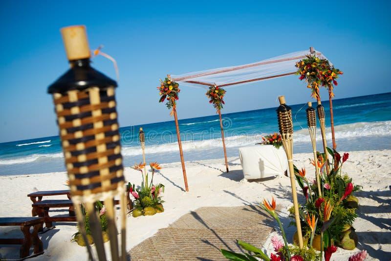 plażowy ustawianie ślub fotografia stock