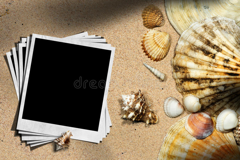 Plażowy wakacje - Seashells i chwila fotografie obraz royalty free