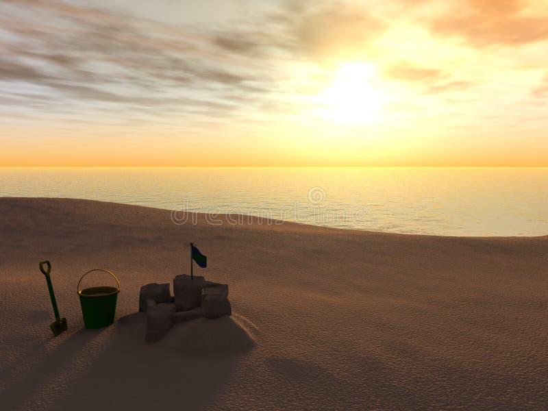 plażowy wiadra kasztelu piaska rydel ilustracji