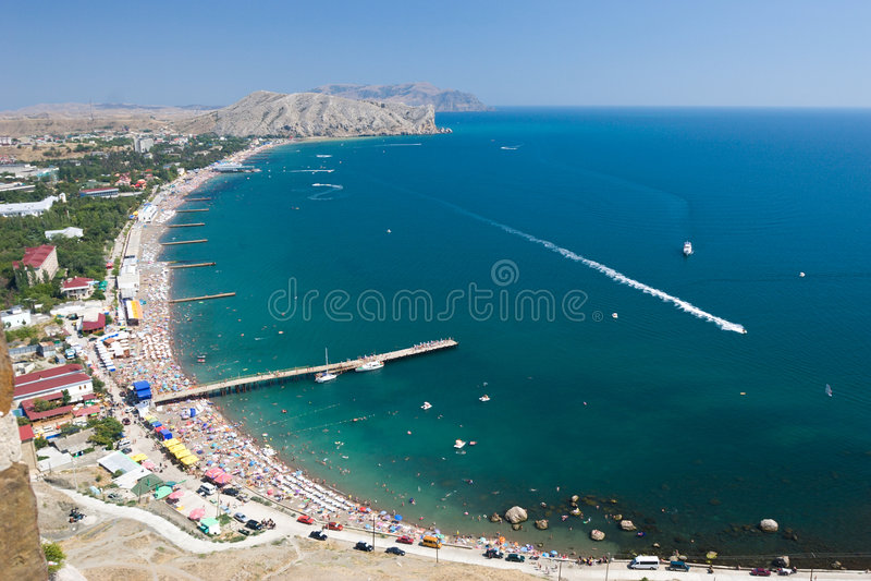 plaży anteny zatłoczone widok fotografia stock