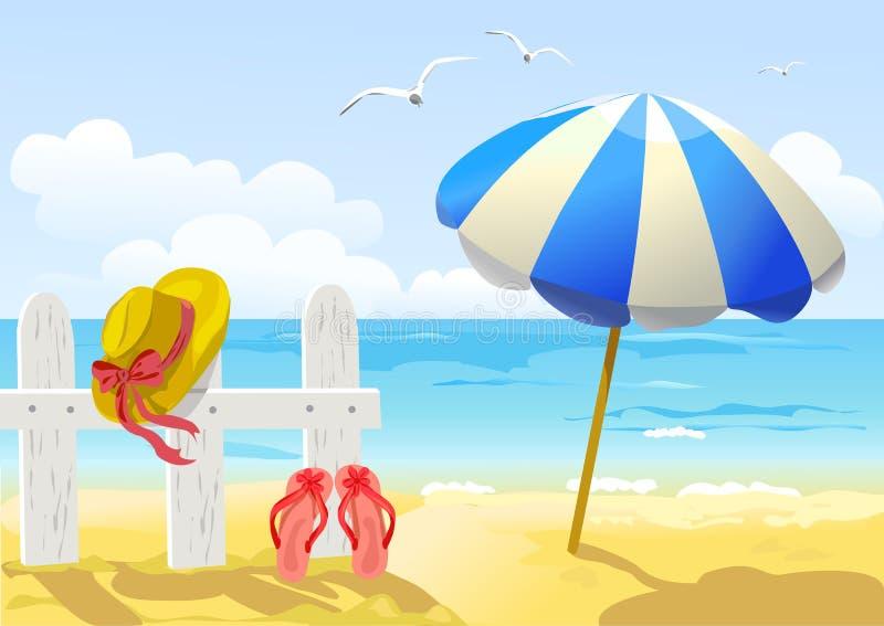 Plaży, morza i słońca parasol, ilustracji