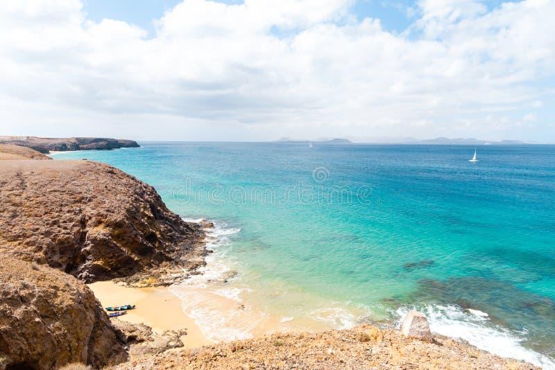 pla?owy pi?kny kanark?w Lanzarote panoramy morze tropikalny kanarki fotografia royalty free