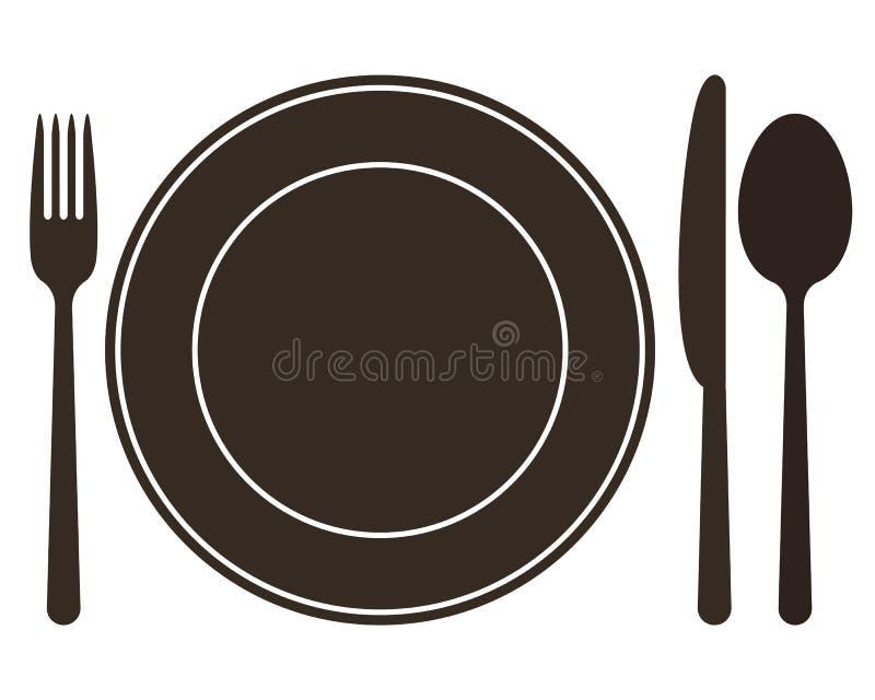 Plaat, mes, lepel en vork stock illustratie