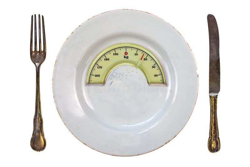 Plaat met een schaal van het gewichtssaldo Het concept van het dieet royalty-vrije stock fotografie