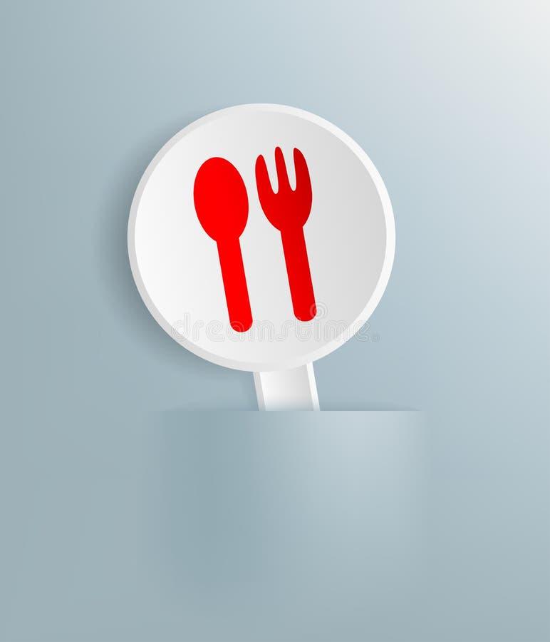 Plaat met het beeld van lepel en vork royalty-vrije illustratie