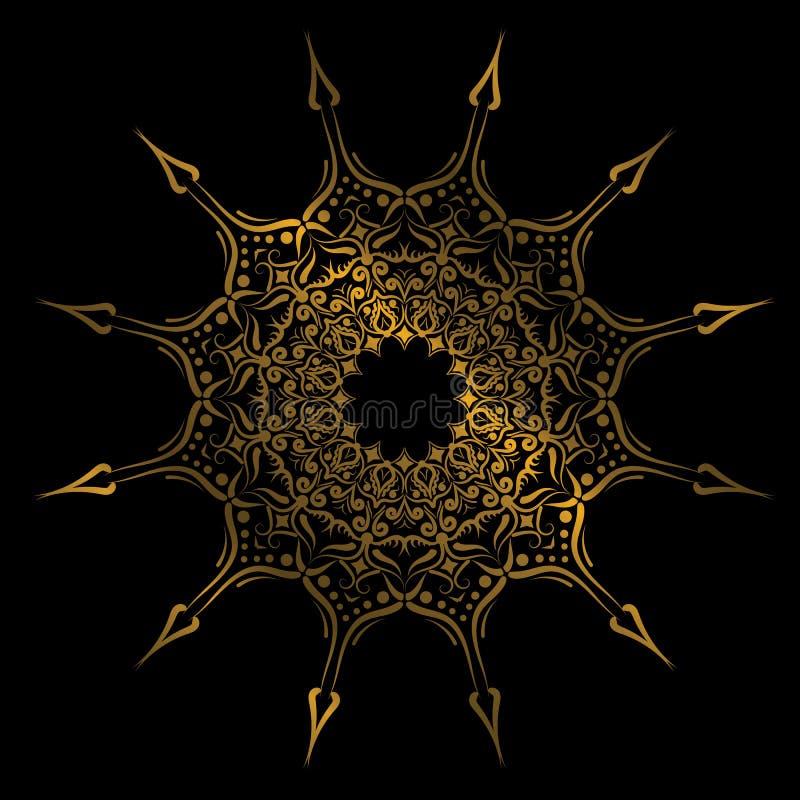 Plaat met het geometrische stammenornament van de elegantiecirkel, Islamitische mandala Gouden kleuren Vectorillustratie royalty-vrije illustratie