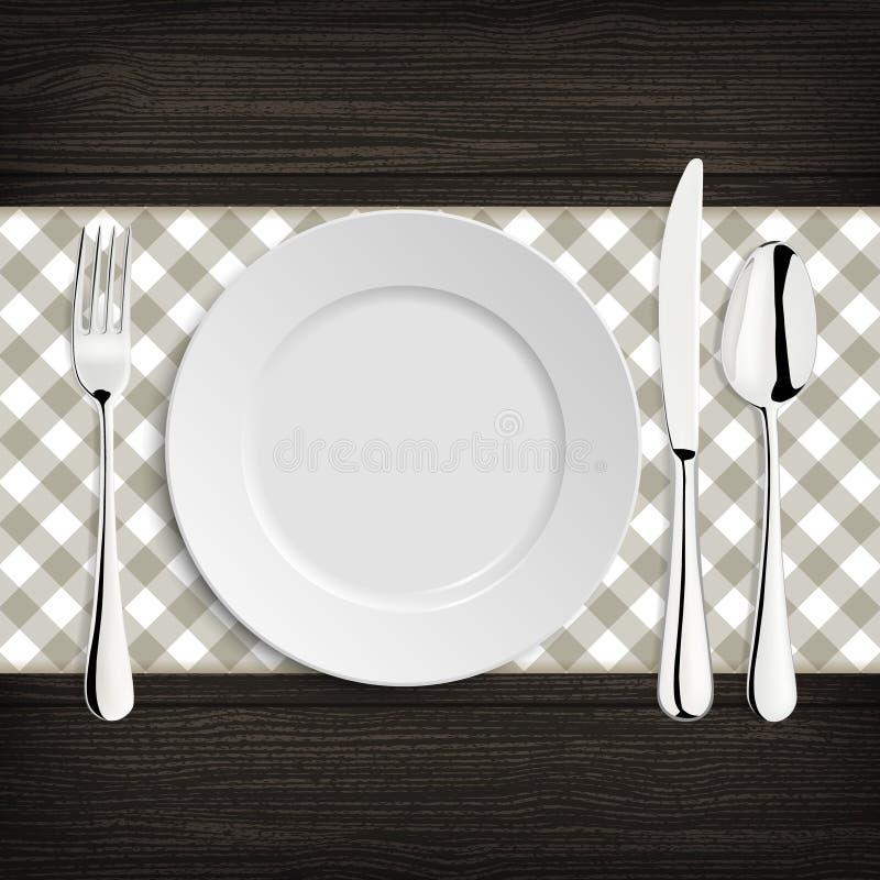 Plaat met lepel, khife en vork op een houten lijst stock illustratie