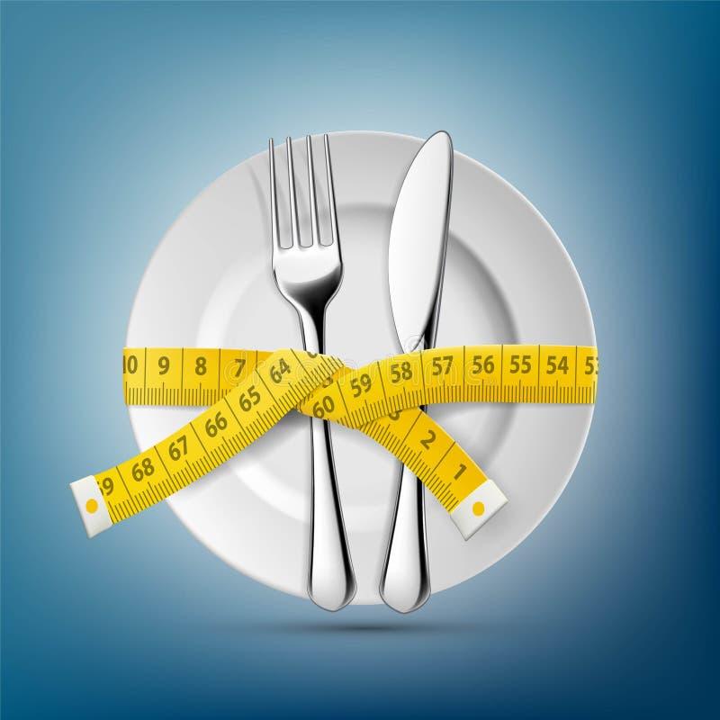 Plaat met mes, vork en het maken centimeter Het op dieet zijn en wei stock illustratie