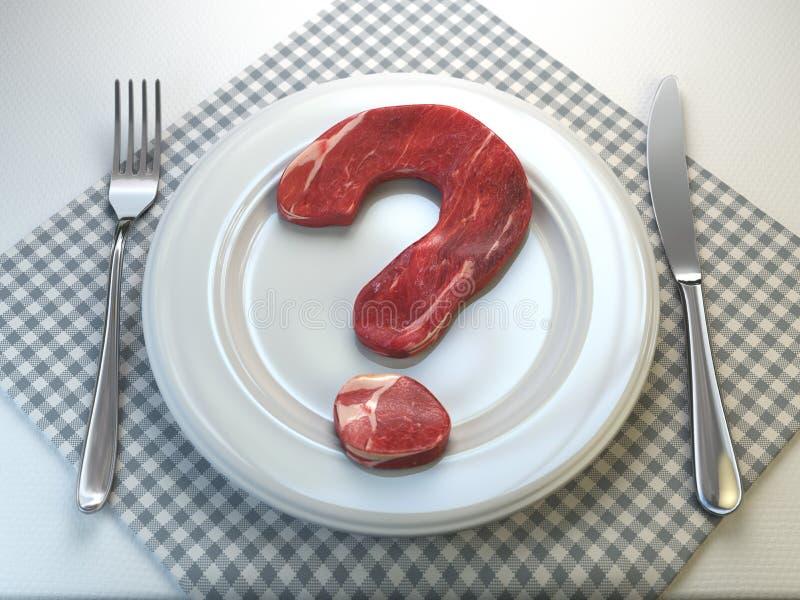 Plaat met ruw vlees in de vorm van een vraagteken Concept van royalty-vrije illustratie