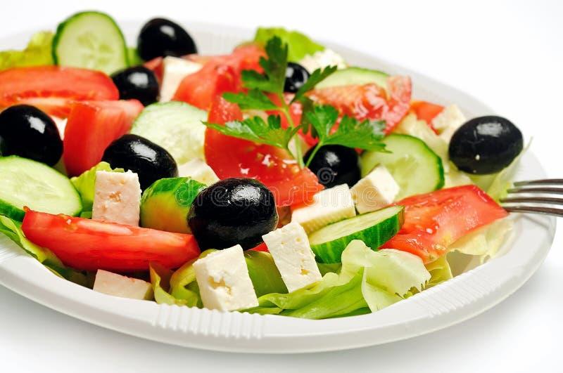 Plaat met salade stock foto