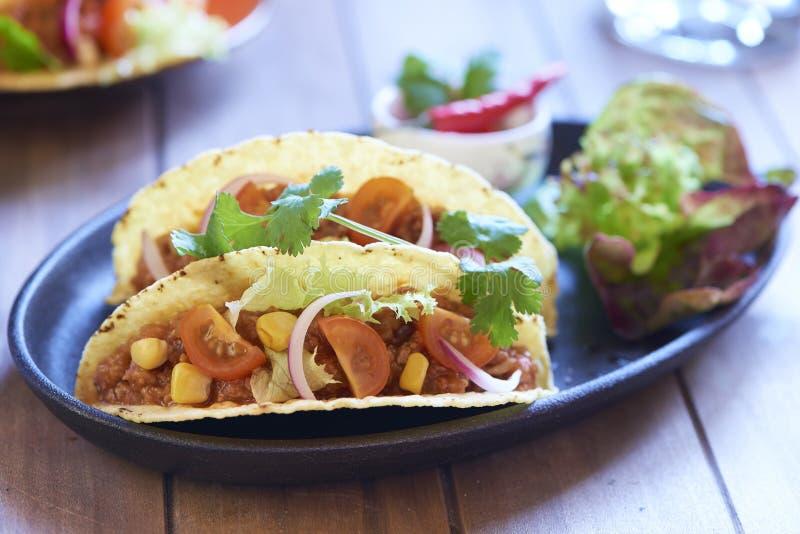 Plaat met taco, salade en tomatenonderdompeling stock fotografie