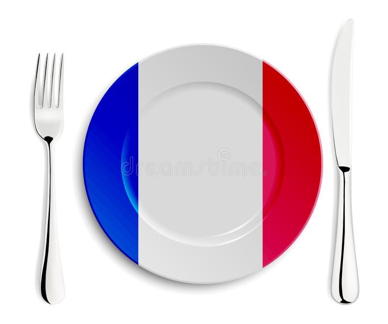 Plaat met vlag van Frankrijk royalty-vrije illustratie