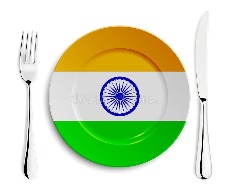 Plaat met vlag van India royalty-vrije illustratie