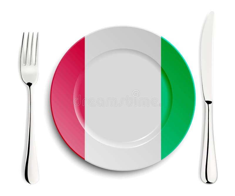 Plaat met vlag van Italië vector illustratie
