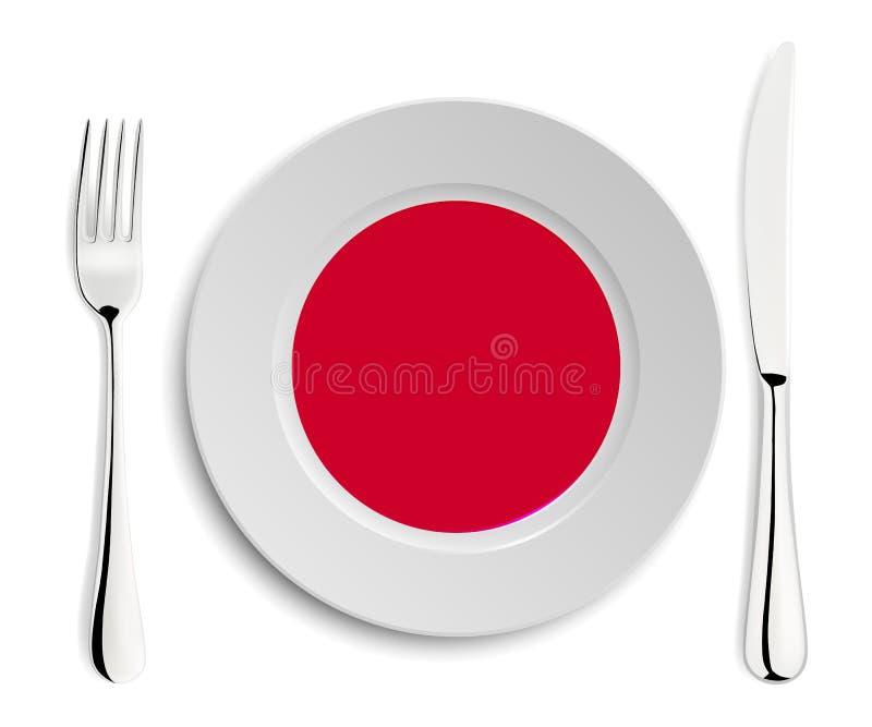 Plaat met vlag van Japan vector illustratie