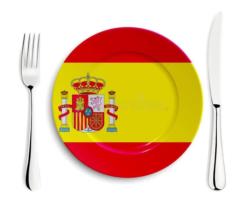 Plaat met vlag van Spanje royalty-vrije illustratie