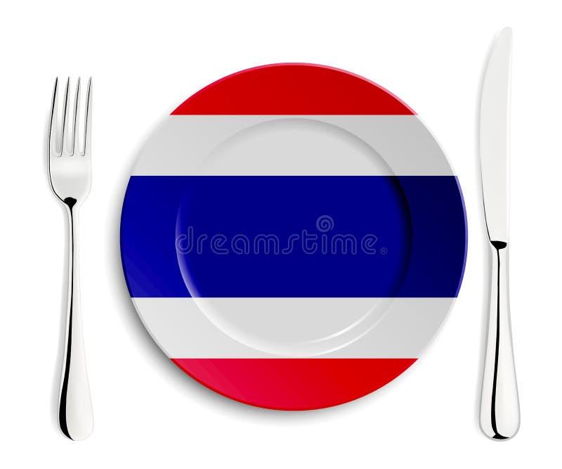 Plaat met vlag van Thailand vector illustratie
