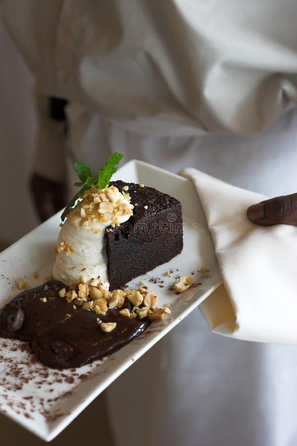 Plaat van cacaocake royalty-vrije stock afbeelding