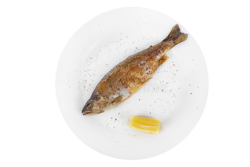 Plaat van de vissen de gehele forel die op geïsoleerd wit wordt geïsoleerd royalty-vrije stock foto's
