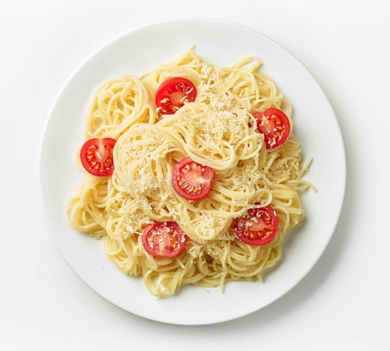 Plaat van deegwarenspaghetti stock fotografie