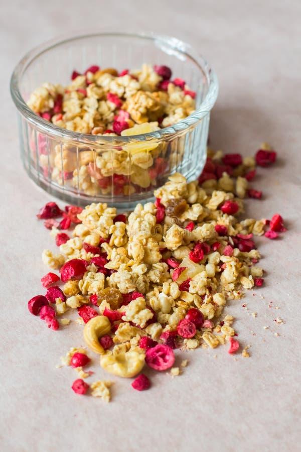 Plaat van eigengemaakte muesli met cornflakes, gevriesdroogde Amerikaanse veenbes, cachou, gekonfijte vrucht, rozijnen stock foto
