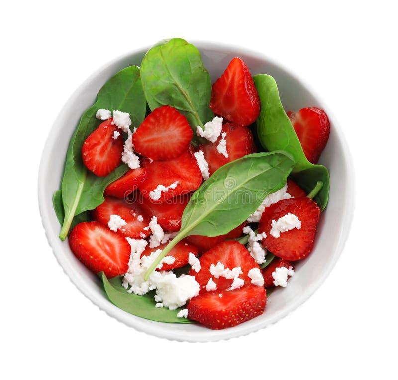 Download Plaat Van Salade Met Spinazie, Aardbei En Plattelandshuisje Stock Afbeelding - Afbeelding bestaande uit nave, organisch: 107703039