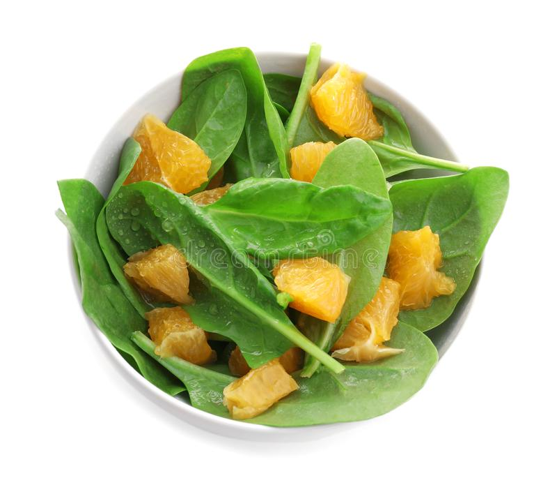 Download Plaat Van Salade Met Spinazie En Sinaasappel Stock Foto - Afbeelding bestaande uit fruit, kruid: 107703214