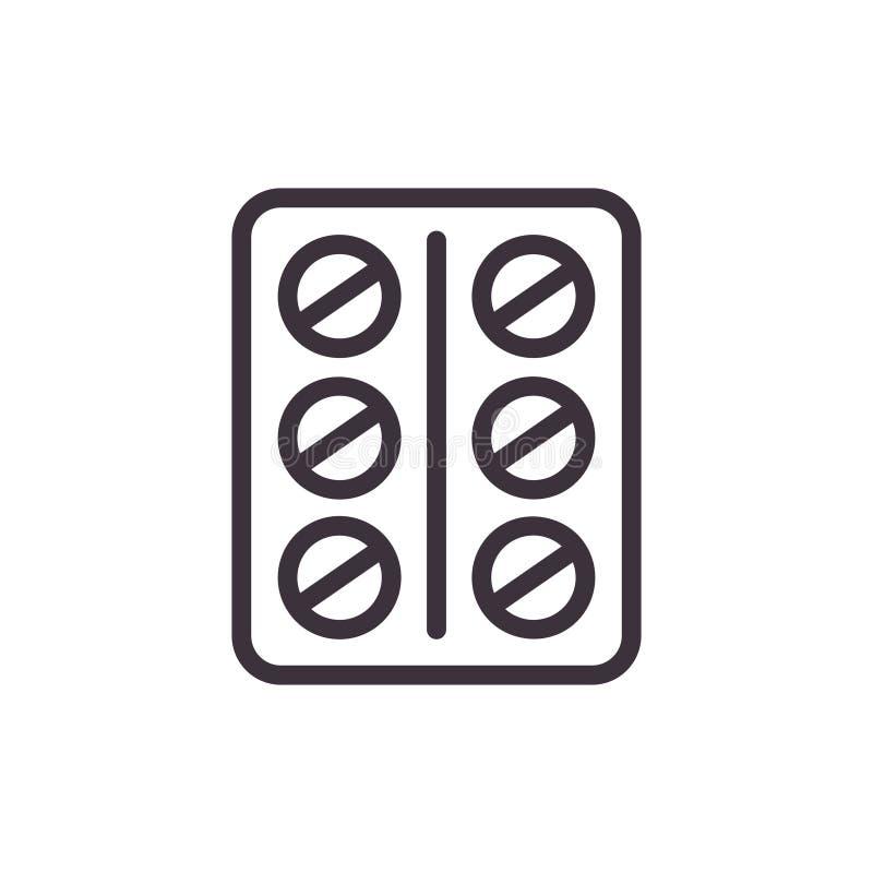 Plaat van tabletten Vector zwart Pictogram stock illustratie