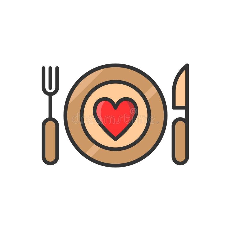 Plaat, vork en mes met hart Dun het dienen van een romantisch pictogram van de dinerlijn de schotels met hart kleuren vectorillus royalty-vrije illustratie