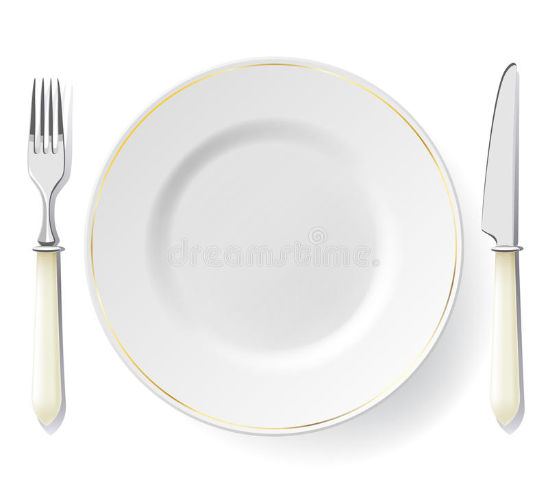 Plaat, vork en mes op wit vector illustratie