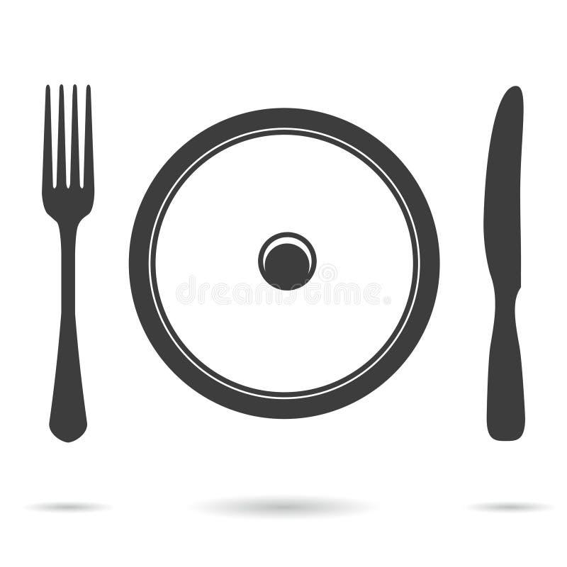 Plaat, vork en messenpictogram royalty-vrije illustratie