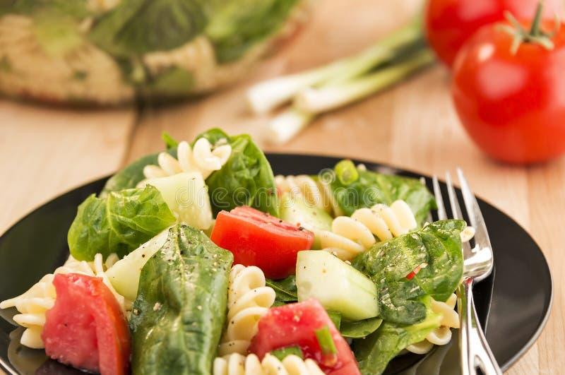 Download Plaathoogtepunt Van Spinazie En Rotinideegwarensalade Stock Afbeelding - Afbeelding bestaande uit voedsel, calorieën: 39102701