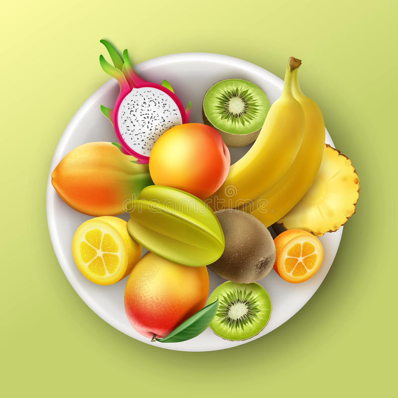 Plaathoogtepunt van tropische vruchten stock illustratie