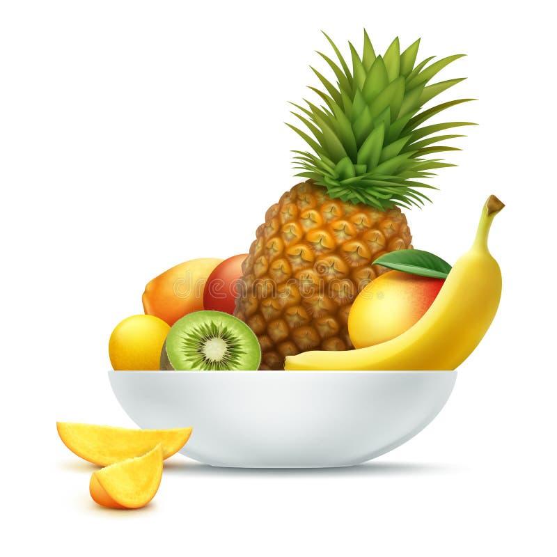 Plaathoogtepunt van tropische vruchten royalty-vrije illustratie