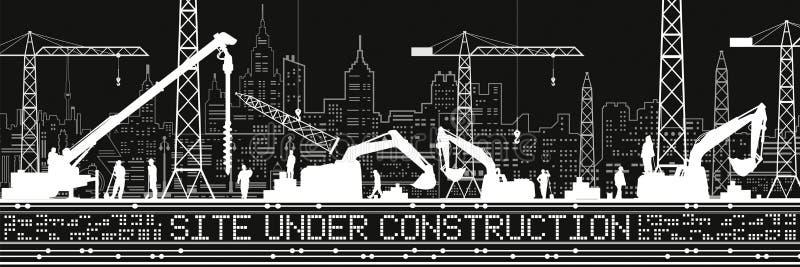 Plaats in aanbouw Illustratie Gebouwenpanorama, industrieel landschap, Bouwkranen en graafwerktuigen, stedelijke scène vector illustratie