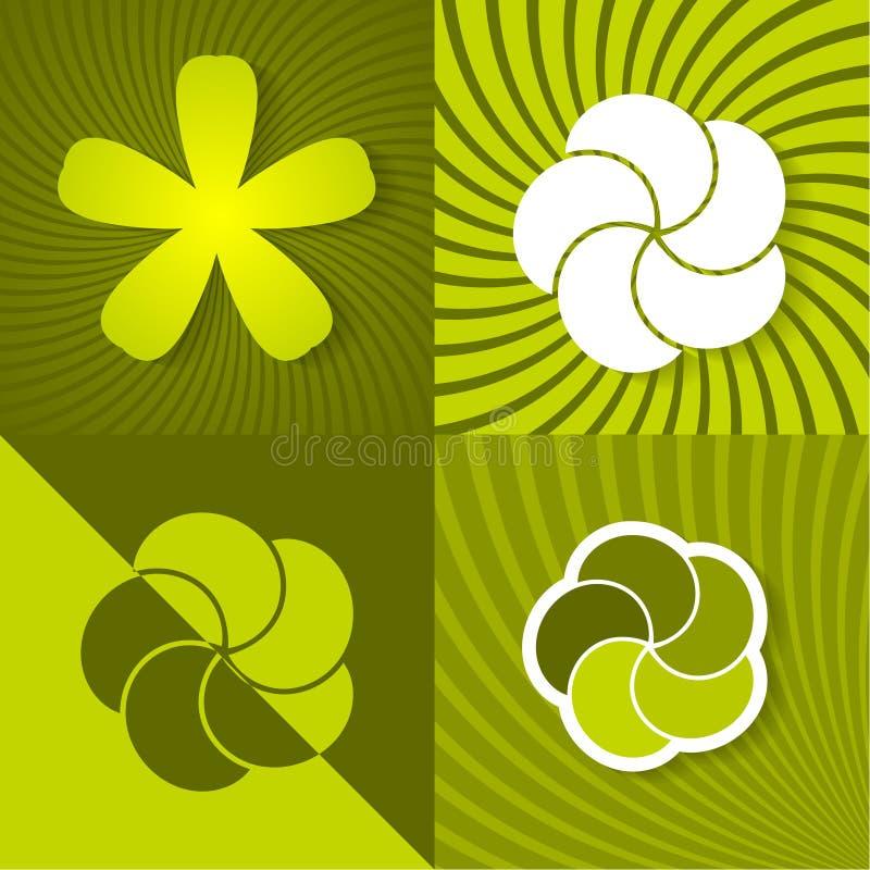 Plaats de groene lenteachtergronden met bloemen vector illustratie