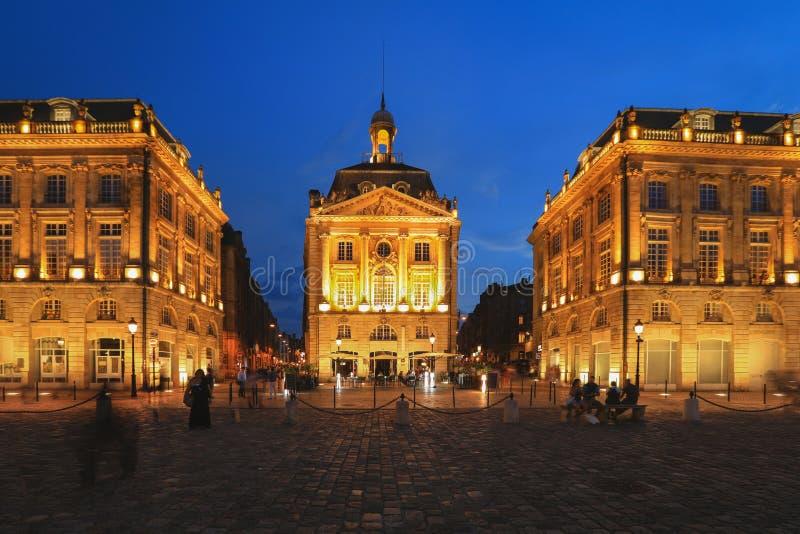 Plaats DE La bourse in Bordeaux, Frankrijk stock foto