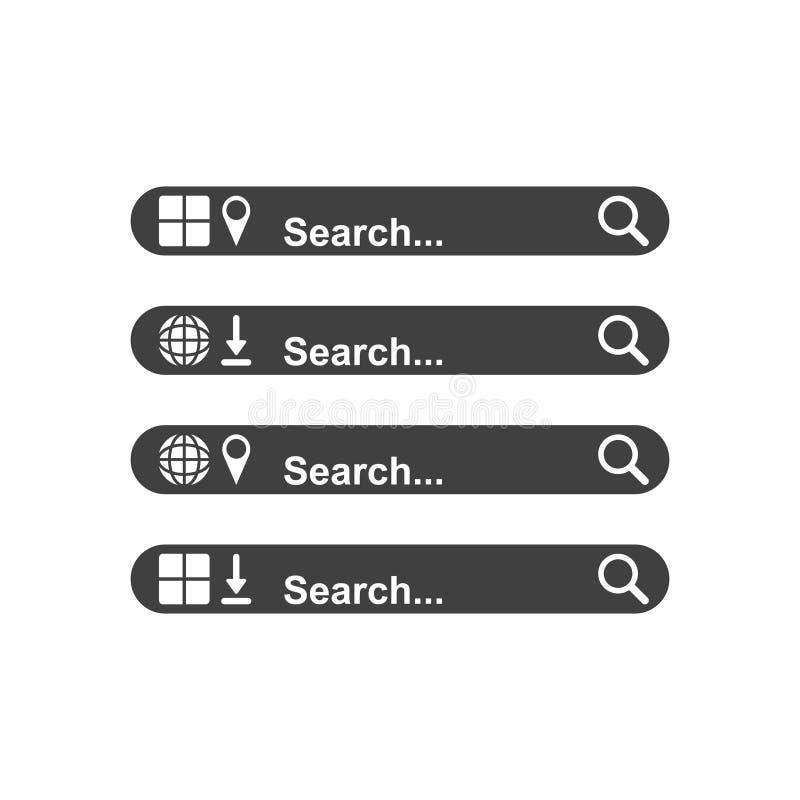 Plaats de searchable panelen van uw keus Een malplaatje voor het zoeken van Internet en een mobiele toepassing Geavanceerde funct royalty-vrije illustratie
