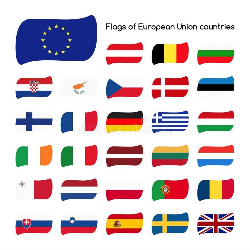 Plaats de vlaggen van Europese Unie landen, lidstaten in 2016 royalty-vrije illustratie