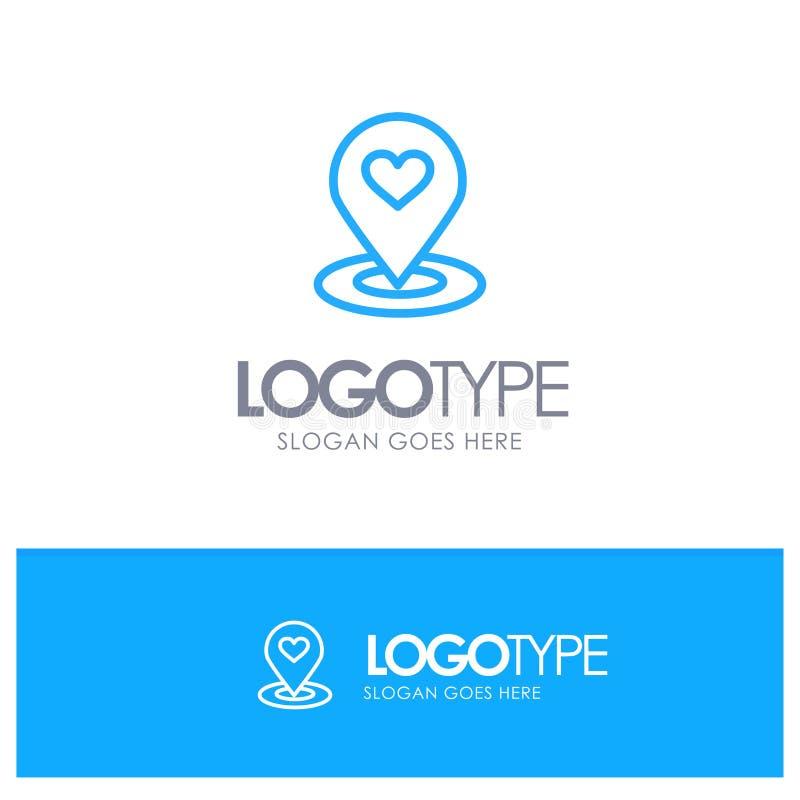 Plaats, Kaart, Plaatsvinder, Speld, Hart Blauw Overzicht Logo Place voor Tagline vector illustratie