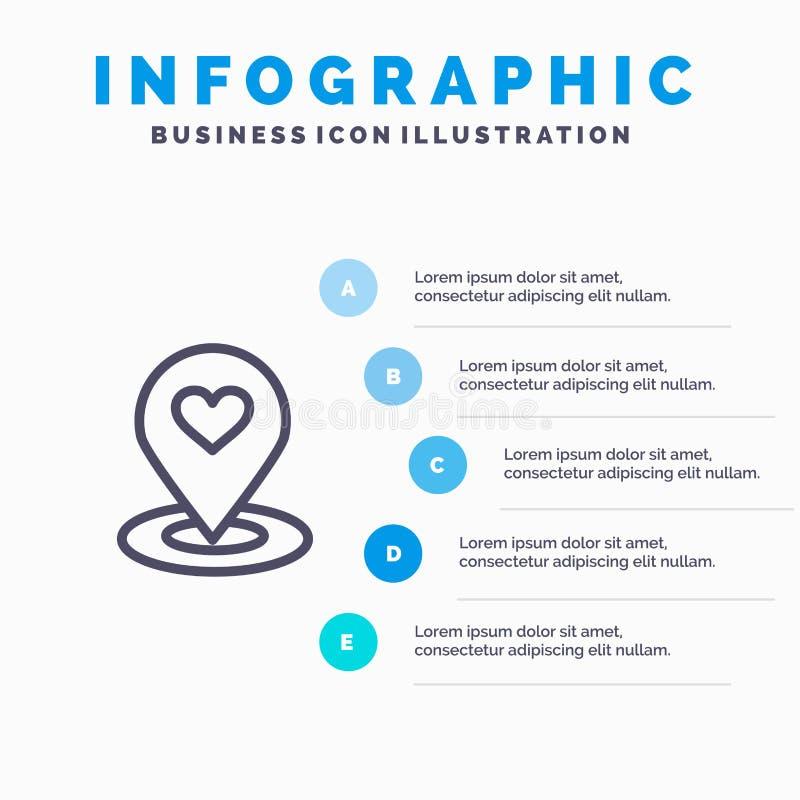 Plaats, Kaart, Plaatsvinder, Speld, het pictogram van de Hartlijn met infographicsachtergrond van de 5 stappenpresentatie stock illustratie