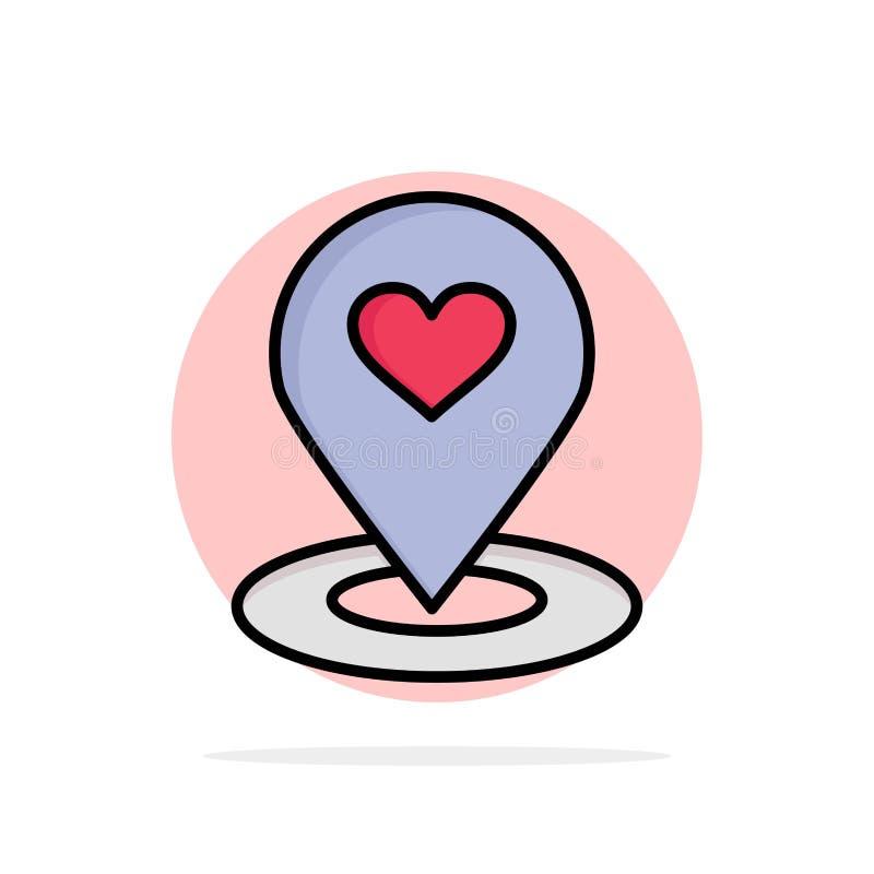 Plaats, Kaart, Plaatsvinder, Speld, van de Achtergrond hart Abstract Cirkel Vlak kleurenpictogram stock illustratie