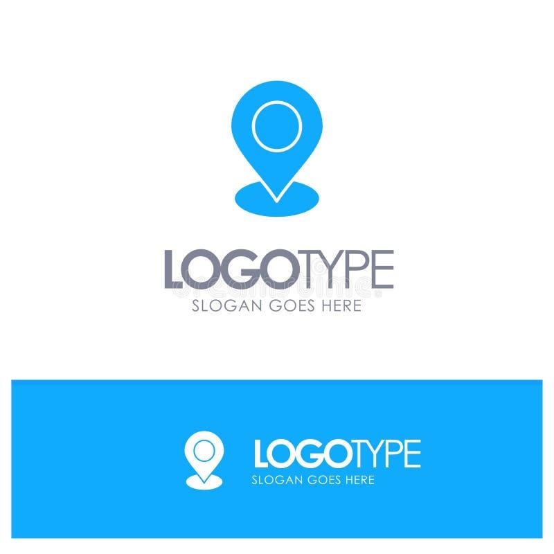 Plaats, Kaart, Teller, Pin Blue Solid Logo met plaats voor tagline stock illustratie