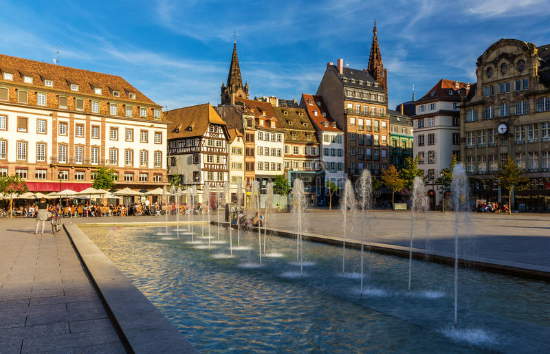 Plaats Kleber in Straatsburg - Frankrijk stock afbeeldingen
