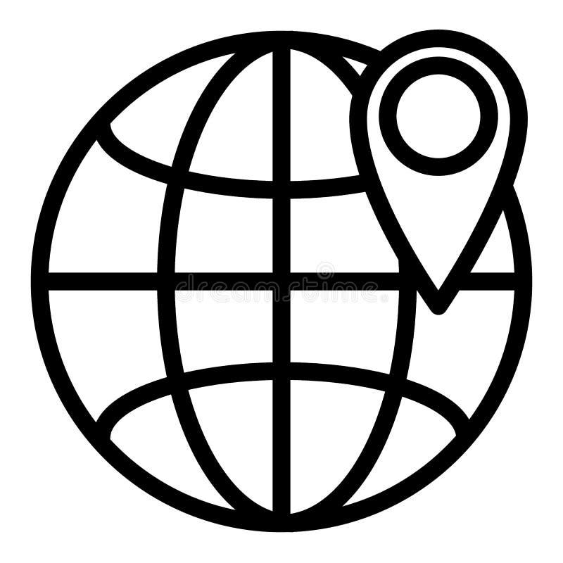 Plaats op het pictogram van de bollijn Gps op de vectordieillustratie van de wereldbol op wit wordt geïsoleerd De stijlontwerp va vector illustratie